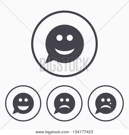 Speech bubble smile face icons. Happy, sad, cry signs. Happy smiley chat symbol. Sadness depression and crying signs. Icons in circles.