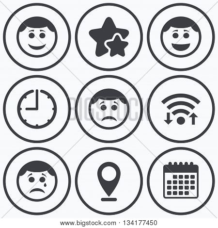 Clock, wifi and stars icons. Circle smile face icons. Happy, sad, cry signs. Happy smiley chat symbol. Sadness depression and crying signs. Calendar symbol.