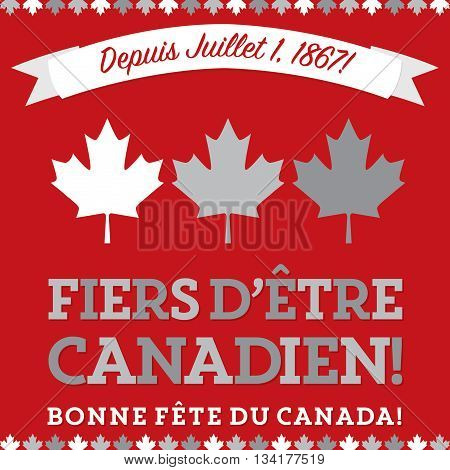 Retro Sash Canada Day Maple Leaf Card In Vector Format.