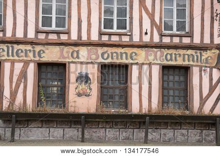 Pont saint Pierre France - july 22 2015 : the facade of an old restaurant