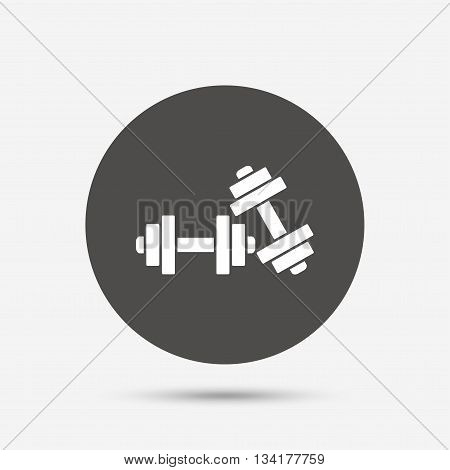 Dumbbells sign icon. Fitness sport symbol. Gym workout equipment. Gray circle button with icon. Vector