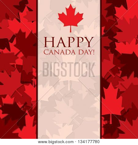 Scatter Canada Day Maple Leaf Card In Vector Format.