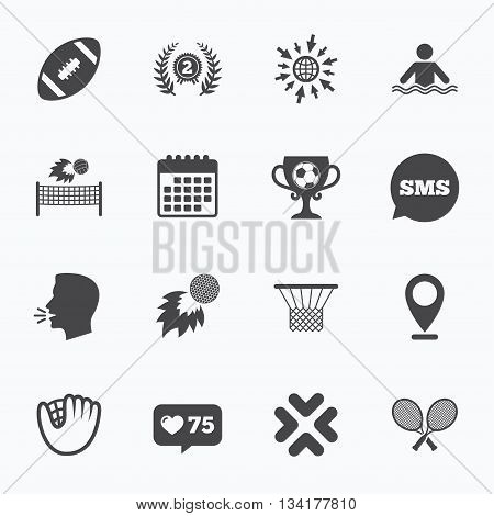 Calendar, go to web and like counter. Sport games, fitness icons. Football, golf and baseball signs. Swimming, rugby and winner medal symbols. Sms speech bubble, talk symbols.