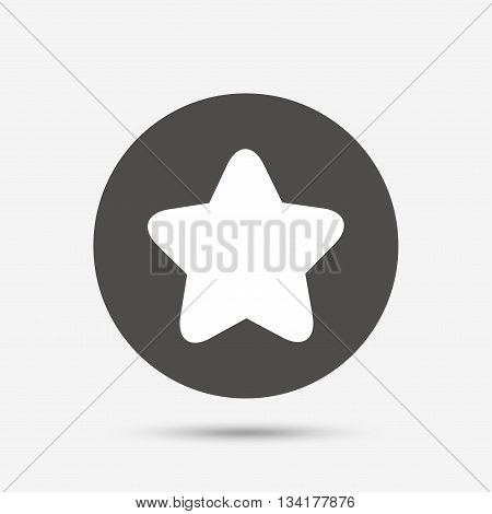 Star sign icon. Favorite button. Navigation symbol. Gray circle button with icon. Vector