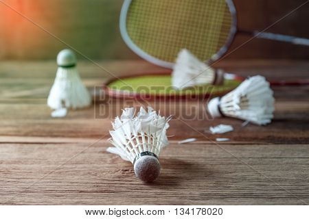 Shuttlecock and Racket with parts of its feathers scattered on wooden