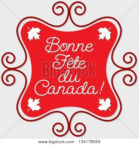 Doodle frame Canada Day maple leaf card in vector format. Translation: 'Happy Canada Day
