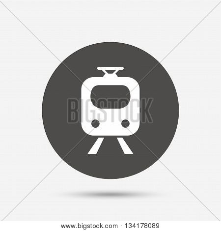 Subway sign icon. Train, underground symbol. Gray circle button with icon. Vector