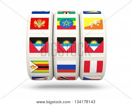 Slots With Flag Of Antigua And Barbuda