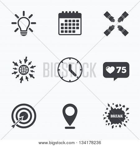 Calendar, like counter and go to web icons. Lamp idea and clock time icons. Target aim sign. Darts board with arrow. Teamwork symbol. Location pointer.