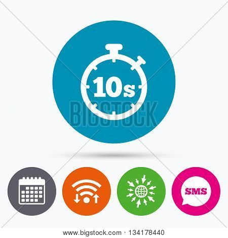 Wifi, Sms and calendar icons. Timer 10 seconds sign icon. Stopwatch symbol. Go to web globe.