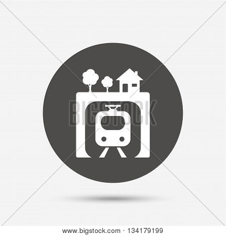 Underground sign icon. Metro train symbol. Gray circle button with icon. Vector