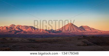 Sunset over Licancabur Volcano - Atacama Desert, Chile