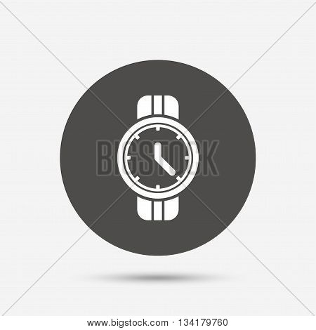 Wrist Watch sign icon. Mechanical clock symbol. Men hand watch. Gray circle button with icon. Vector