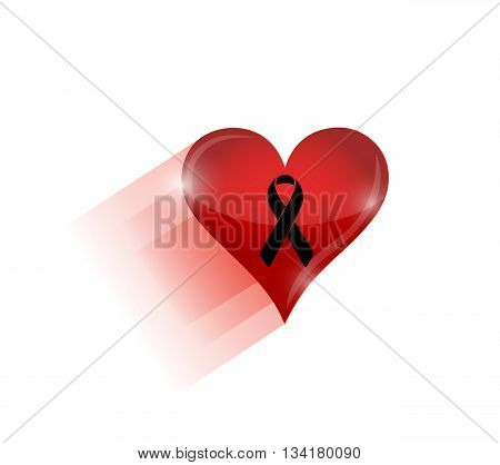 Black Ribbon Over A Heart. Illustration
