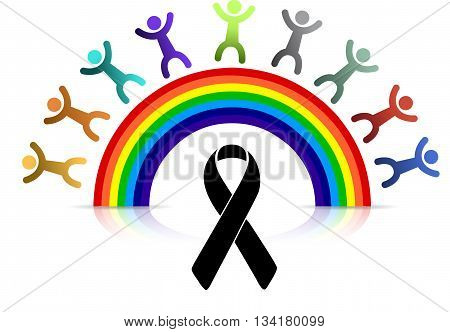 Black Ribbon And Pride Rainbow And People.