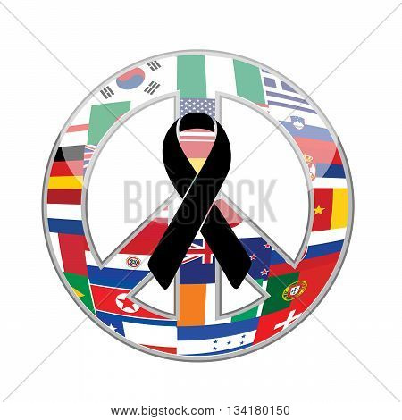 Black Ribbon Over A Peace Flag Symbol.