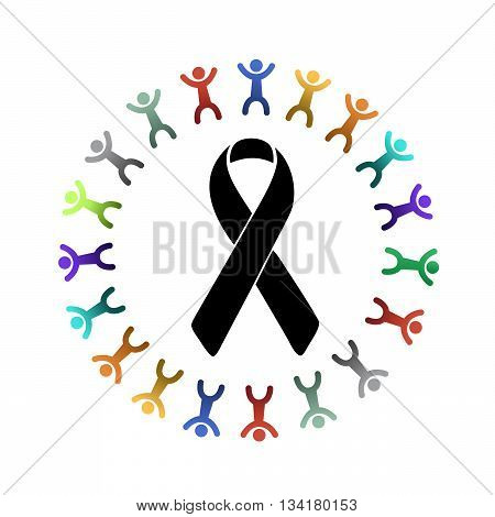 Black Ribbon And Diversity People Around.