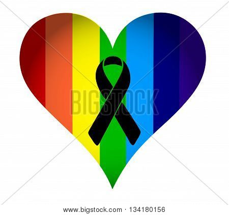 Black Ribbon Over A Pride Rainbow Heart Flag.