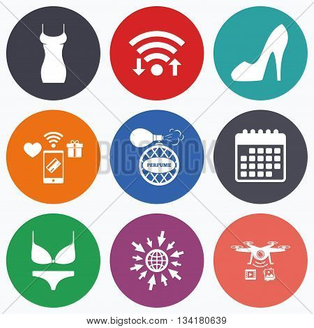Wifi, mobile payments and drones icons. Women dress icon. Sexy shoe sign. Perfume glamour fragrance symbol. Intimates underwear. Calendar symbol.
