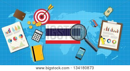 thailand economy economic condition country with graph chart and finance tools vector graphic illustration