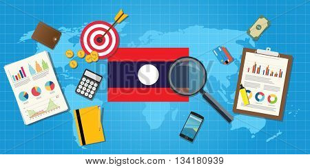 laos economy economic condition country with graph chart and finance tools vector graphic illustration