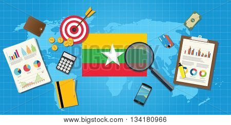myanmar economy economic condition country with graph chart and finance tools vector graphic illustration
