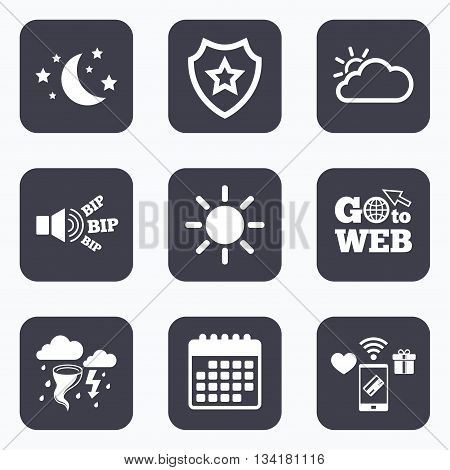 Mobile payments, wifi and calendar icons. Weather icons. Moon and stars night. Cloud and sun signs. Storm or thunderstorm with lightning symbol. Go to web symbol.
