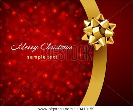 Card with gold bow vector background