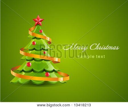 Brillante árbol de Navidad con tarjeta de vector de estrella roja