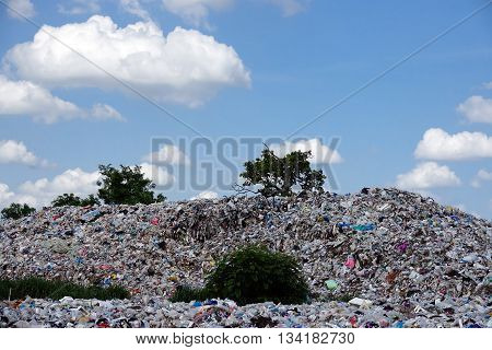 Landfill in the nature landscape with garbage for recycling