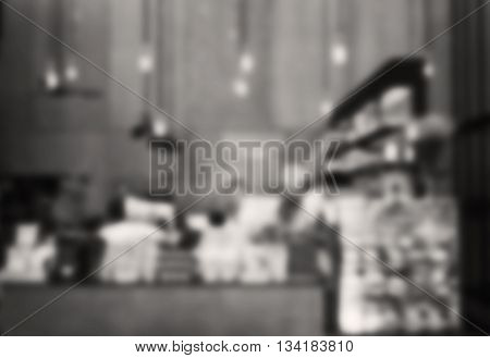 Blurred background in coffee shop with sepia filter, stock photo
