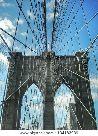 Perspective on the structure of Brooklyn Bridge New York USA