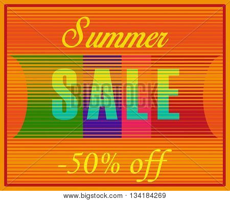 Summer Sale Inscription. Fifty percents off. Striped Yellow Blue Letters. Illustration.
