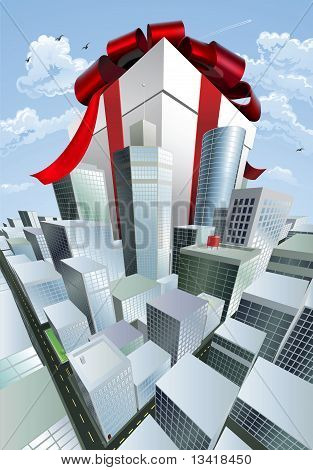 Giant Gift In City