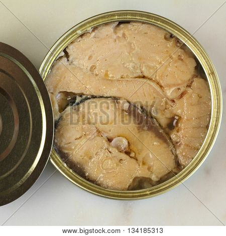 Canadian pink salmon in a tin of brine.