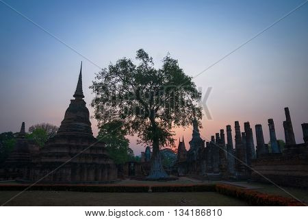 A sunset in Thai ancient temple in Sukhothai
