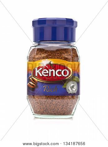 SWINDON UK - MAY 4 2014: Jar of Kenco Instant Coffee on a white background