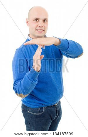 Young man giving showing time out hands gesture isolated on white background
