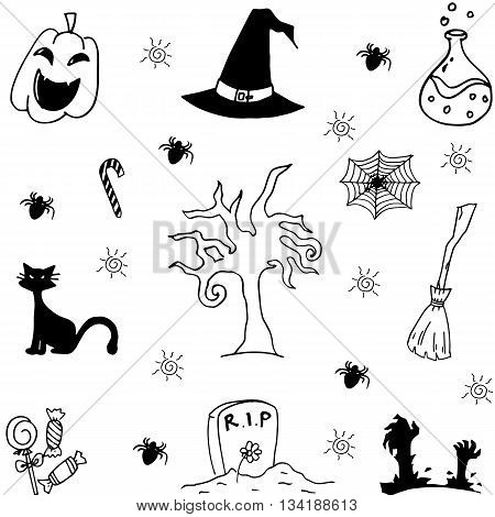 Halloween characters and attributes doodle set Vector illustration.
