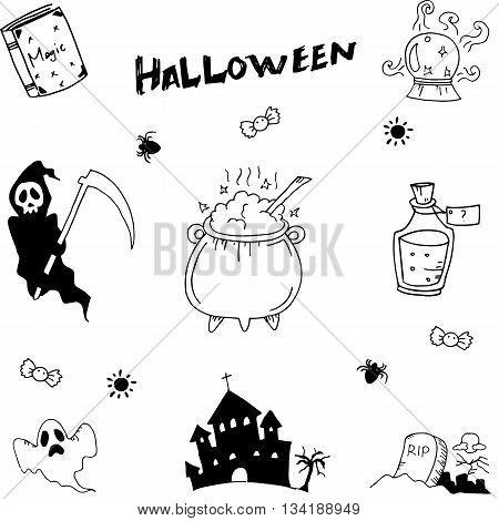 Halloween set doodle vector illustration on white backgrounds