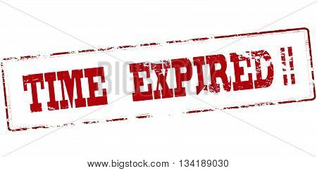 Rubber stamp with text time expired inside vector illustration