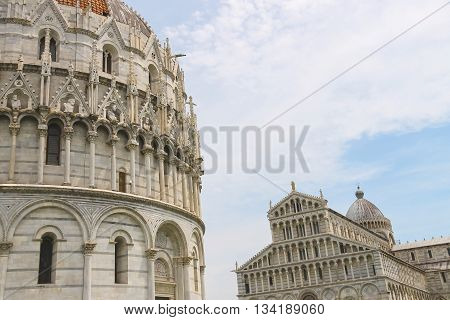 The Cathedral and the Baptisery of St. John in Pisa Italy