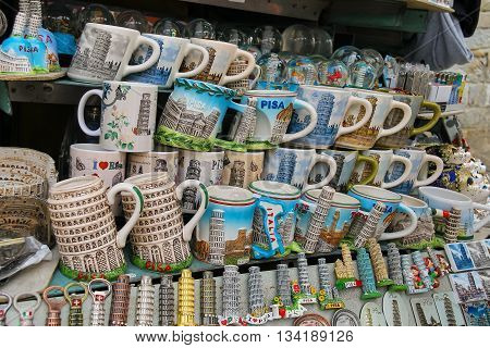 Pisa Italy - June 29 2015: Sale of souvenirs at the street shop. Province Pisa Tuscany region of Italy