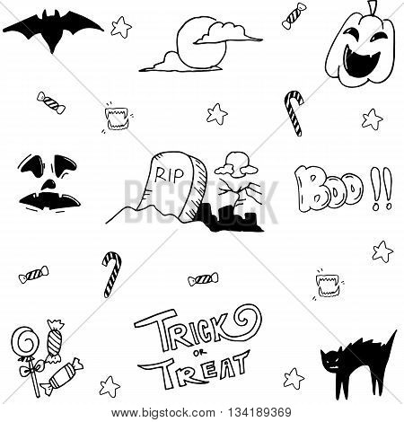 Doodle vector halloween collection with hand draw