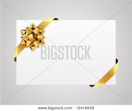 Greeting white card with gold bow