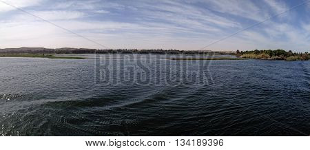 Panoramic view of the horizon at the nile near Aswan