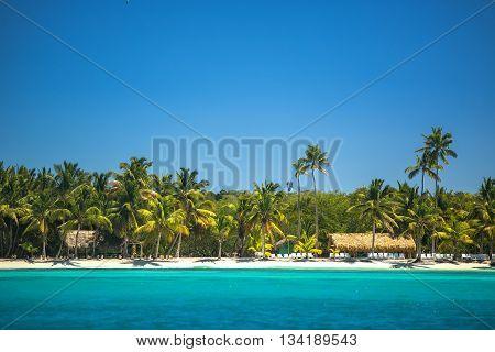 Carribean sea and beautiful panoramic view toword the beach