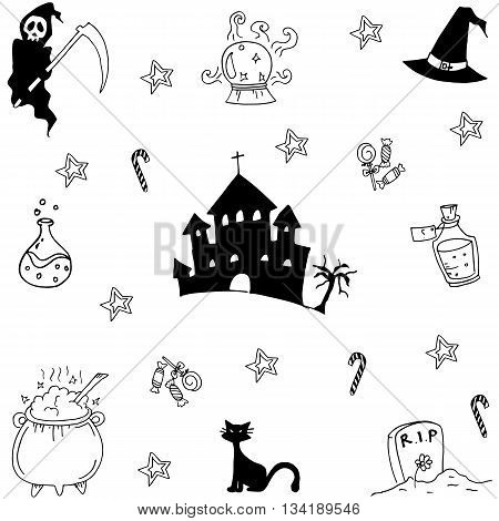 Doodle of Halloween set hand draw collection stock