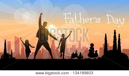 Father Day Holiday, Silhouette Son Daughter Dad Hold Hands Up Flat Vector Illustration