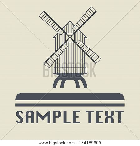Abstract Windmill icon or sign, vector illustration